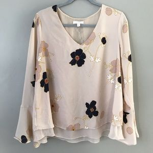 LC Lauren Conrad floral bell sleeve layered blouse